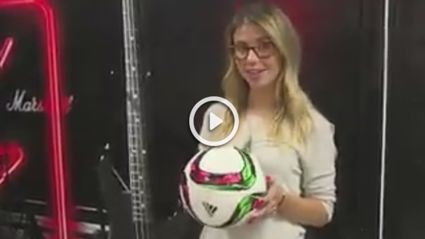 Angie Boyd Shows Off Her Football Skills