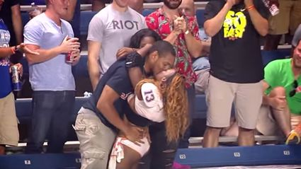 Lingerie Football Player Jumps Into Stands A Kissing Dude
