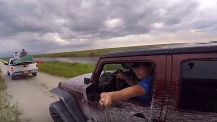 Guy Trying To Film Himself In His Jeep Recieves Epic Jabroni Karma