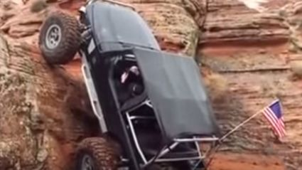 Jeep Drives Straight Up 90 Degrees Cliff