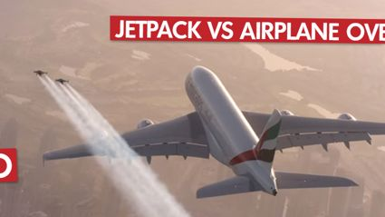 Jetpack Pilots Fly Past Emirates A380 Over Dubai