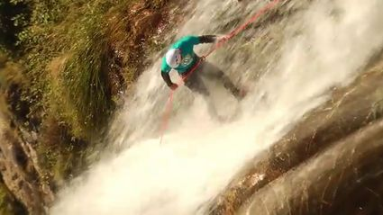 Canyoning Team Perform Epic Cliff Jumps