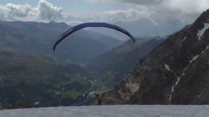 Paragliding Over Glaciers In Italy