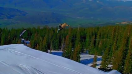 Snowboarder's Wipe-Out On Massive Jump