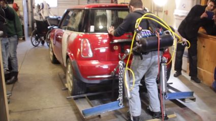 Homemade Exoskeleton Lifts Mini Cooper!