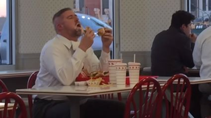 Watch This Guy Crushing His In-N-Out Meal Like It's His Last Meal On Earth