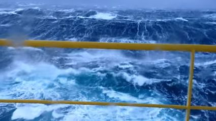 Crazy Huge Waves On An Oil Platform