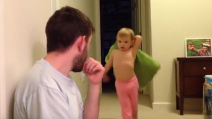 "Toddler Learns The Hard Way ""Never Turn Your Back On Your Enemy"" During Pillow Fight"
