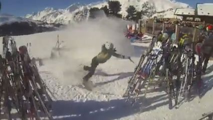 EPIC Crash Into Ski Rack Right Outside Lodge