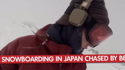 Girl Snowboarding In Japan Chased By Bear