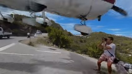 Landing Plane Nearly Decapitates Tourist