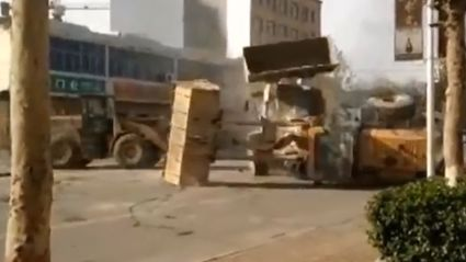Bulldozer Battle On The Streets Of China
