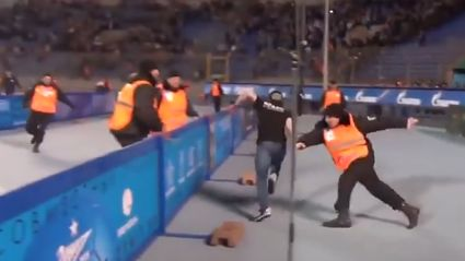Russian Pitch Invader Shows A Great Step And Beats 9 Security Guards