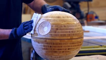 Guy Builds A Wood Turned Bamboo Death Star