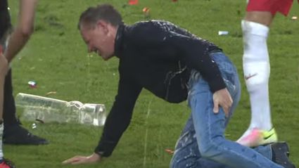 Soccer Coach Pulls Hamstring Trying To Run Away From Celebratory Beer Shower