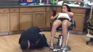 Girl Getting Belly Button Pierced Punches Worker In Nuts