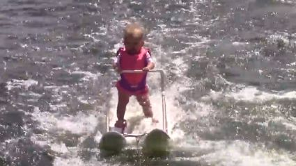 A 6 Month Old Baby Sets World Record For Water Skiing! Wait, What?