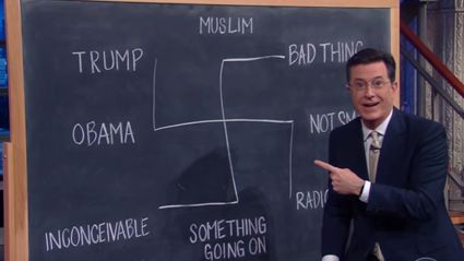 Stephen Colbert Creates A Swastika Diagram While Trying To Explain Donald Trump's Response To Orlando Shootings