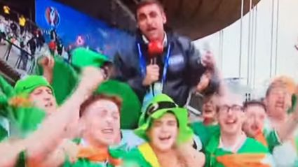 Irish Soccer Fans Hijack Live Report And Celebrate With Reporter