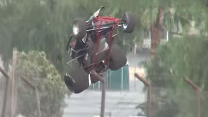 Speedway Driver Crashes And Flips Over Safety Fence