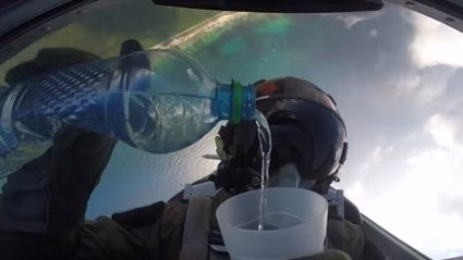 What Happens When You Try And Pour Water While Flying Upside Down...