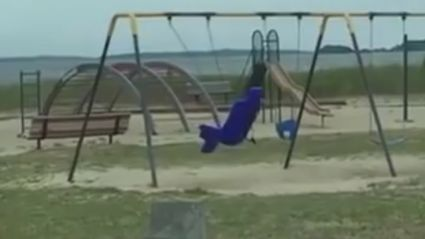 Guy Films A Ghost Swing Another Ghost At The Playground