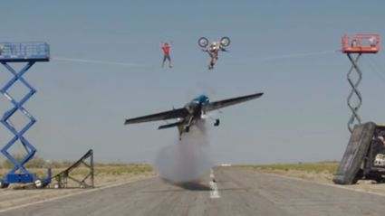 Watch A Motorcross Rider Back-Flip An Airplane & A Tightrope Walker