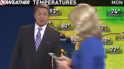 News Anchor Walks Through Live Weather Report Playing Pokemon Go