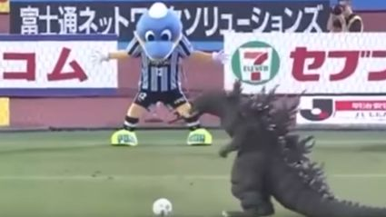 Godzilla Takes Probably The Worst Penalty Kick Ever During A Game In Japan