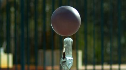 What Happen When You Drop A Bowling Ball Onto An Axe From 45m...