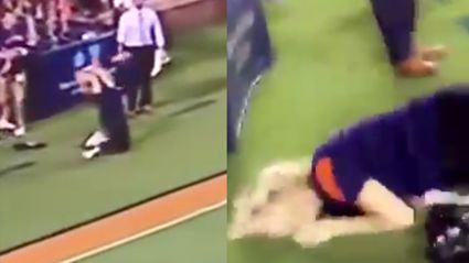 Woman Tries To Catch Football, Ends Up Smashing Her In The Face