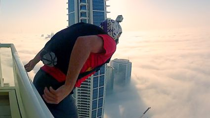 Base Jump Into Clouds