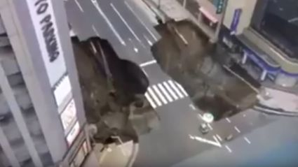 Watch Footage Of A Gigantic Sinkhole Swallowing Intersection In Japan