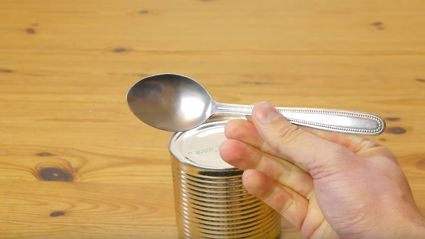 Genius Life Hack: How To Open A Can Using A Spoon