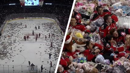 Ice Hockey 'Teddy Bear Toss' gives you some much needed Wednesday joy