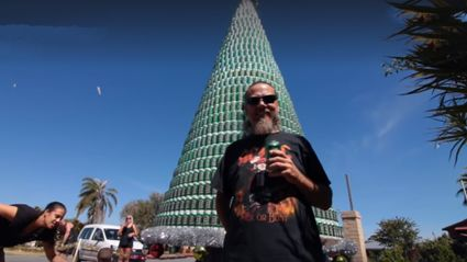 Aussie Bogan hero builds Xmas tree out of beer cans!