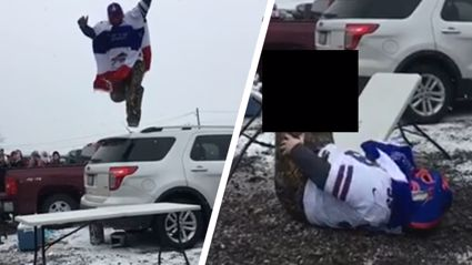 Buffalo Bills gruesomely breaks leg jumping off car onto table