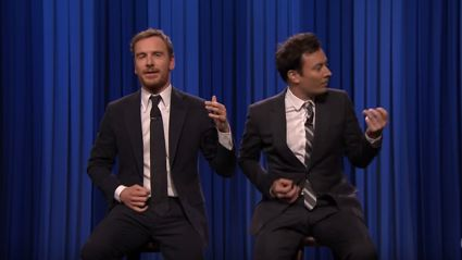 Air Guitar Battle between Michael Fassbender & Jimmy Fallon