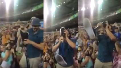 Watch as cricket fan skulls beer from prosthetic leg