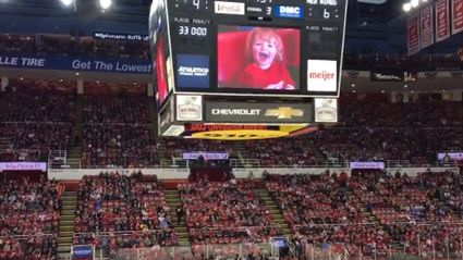 Ice Hockey crowd cheers little kid on Jumbotron while booing everyone else