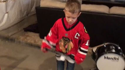 Little kid attaches tooth to ball and knocks it out with hockey slap shot