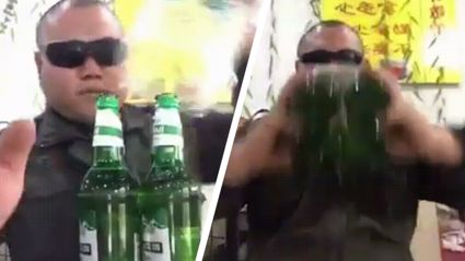 Legendary guy shows you how to drink 4 beers at once!
