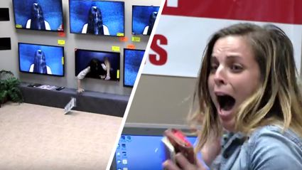 Prank with the creepy girl from The Ring crawling out of TV's  is so cruel but very funny