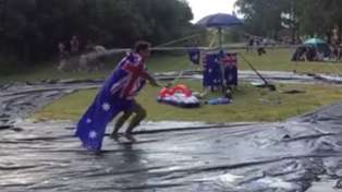 Aussies build epic water park in their backyard to celebrate Australia Day