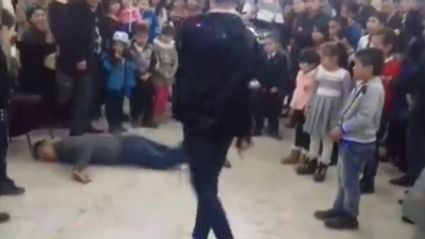 Guy attempts back flip to upstage Michael Jackson impersonator and it ends in a broken neck...