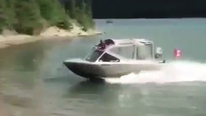Watch these Canadians jump their boat over the shoreline