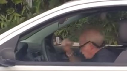 Old man head banging to Metallica in his car is the hero of the day