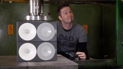 "Watch speakers playing ""Sandstorm"" get crushed by a Hydraulic Press"
