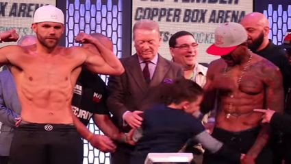 Boxer's son punches opponent in the balls during weigh in