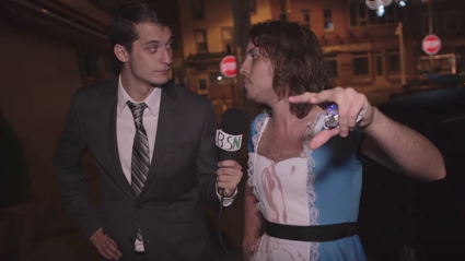 Two guys dressed as News Reporters interview drunk people on Halloween